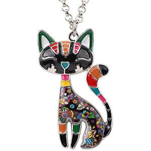 Grey Statement Enamel Alloy Chain Cat Necklaces, 15.1g