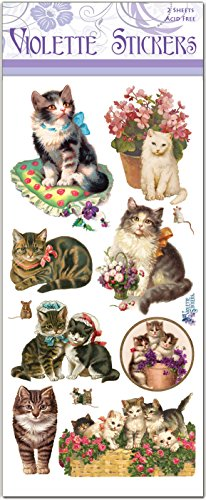 Victorian Cat Stickers for Albums or Scrapbooks