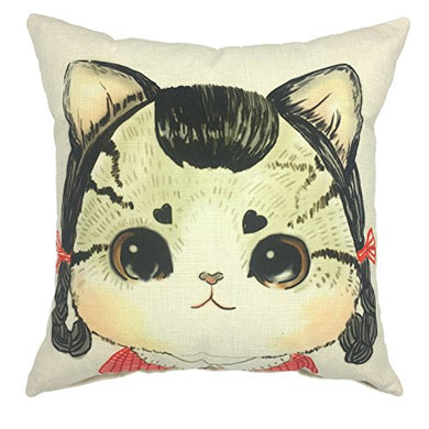 Cartoon Cute Cat Linen Square Throw Pillow Case by YOUR SMILE