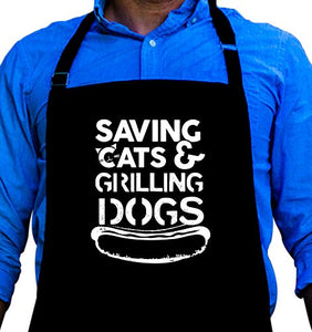 Typographic BBQ Grill Apron: Saving Cats and Grilling Dogs