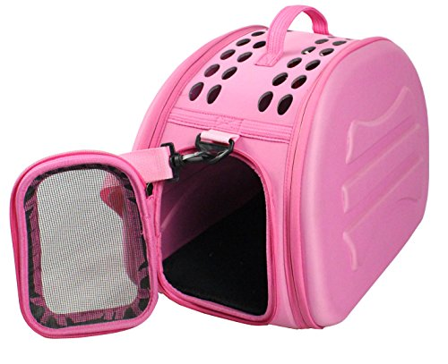 Pink Collapsible Travel Pet Carrier Crate