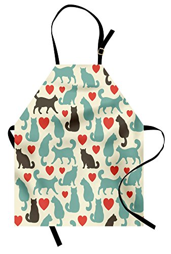 Cats with Hearts Design Apron by Lunarable, 31