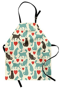 "Cats with Hearts Design Apron by Lunarable, 31"" X 26"""