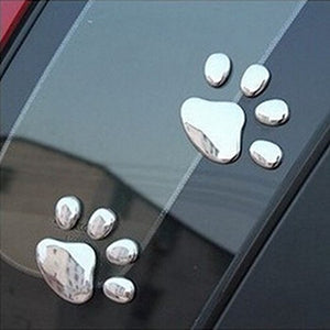 3D White Cat Paw Car Decal, 12 Pairs, Simply Peel