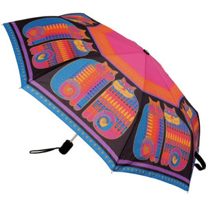 Compact Umbrella with Fat Cat Prints, Bright vivid colors