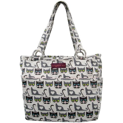 Vegan Cotton Canvas Pocket Tote Bag Cat by Bungalow360