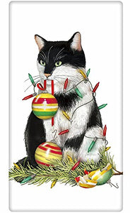 Christmas Tree Cat with Ornaments Dish Tea Towel, Lint Free for Drying