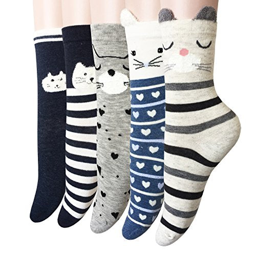 Oureamod Kitty Faces Girls Crew Socks 5 Pack (US(5-9), Cat 3)