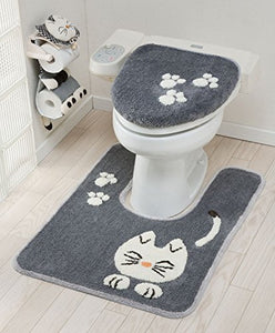 Cat Design Toilet Lid Cover, Grey / White