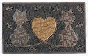 Rubber Twin Heart Cats with Fishes Doormat