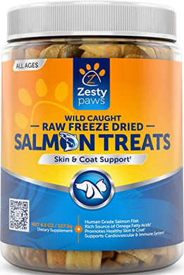 Pure Freeze Dried Salmon Filet Treats for Dogs & Cats - With Raw & Wild Caught Pacific Sockeye Salmon Fish - Omega 3 EPA + DHA Fatty Acids for Joint & Immune Support + Skin & Coat Health - 4.5 OZ
