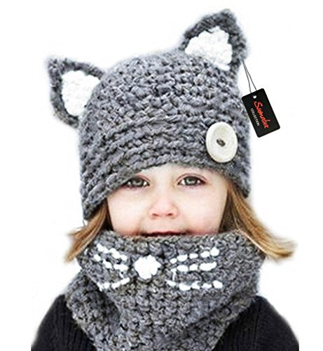 Cat Ears Hat Beanies by Sumolux, Wooly Knitted