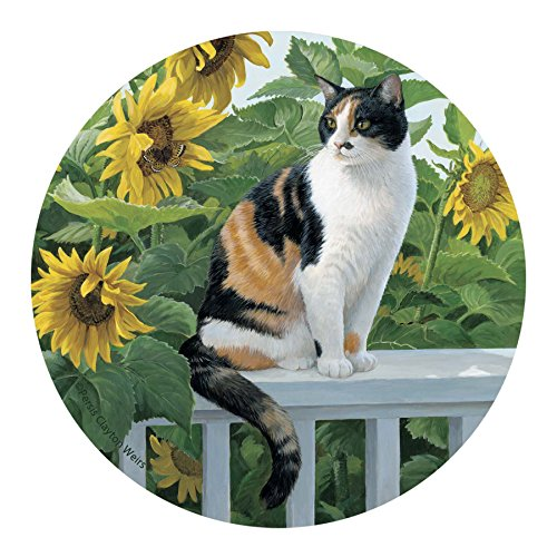 Set of Four Coasters Cat and Sunflowers Printed