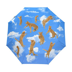 Flying Yellow Cats in Clouds Printed Blue Umbrella