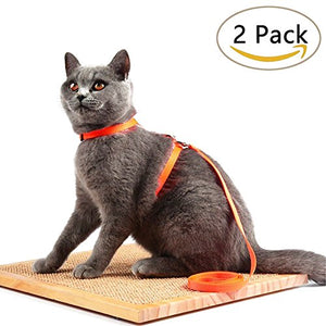 Cat Harness Adjustable Strap Collar, 1 Blue - 1 Orange