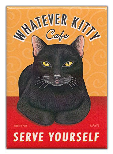 Retro Cat Magnet: WHATEVER KITTY CAFÉ, 2.5