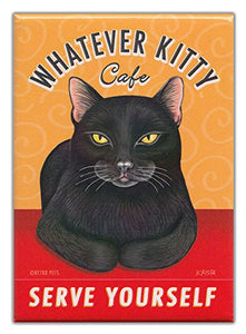 "Retro Cat Magnet: WHATEVER KITTY CAFÉ, 2.5"" x 3.5"""