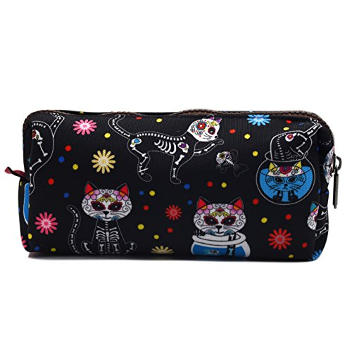 Day of the Dead Cats Black Pencil Case, 3.5 inches tall