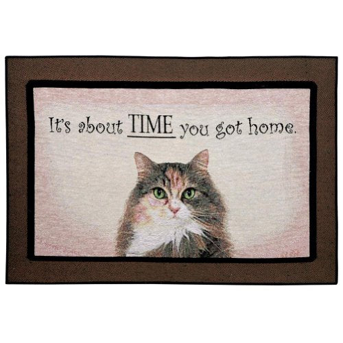 Doormat for Vat Lovers - It's About Time You Got Home Cat Rug