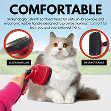 Self Cleaning Pet Grooming Brush with the Button, Red