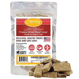Pet All-Natural Freeze Dried Beef Liver Treats for Cats, Raw Paws