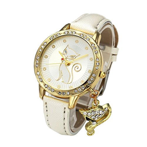 Golden Fashion Watch with a Hanging Cat Charm
