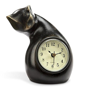 Cat Shaped Clock by SPI Home, Polystone, Weight: 0.77 lbs