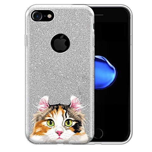 Calico Curl Longhair Cat Printed Iphone Case, Shiny Glitter