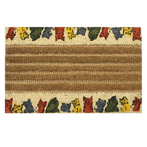 "Hand-Knotted ""Kitty Cat"" Outdoor Coir House Doormat"