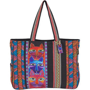 Large Tote: Stacked whiskered Cats by Laurel Burch, Made in India
