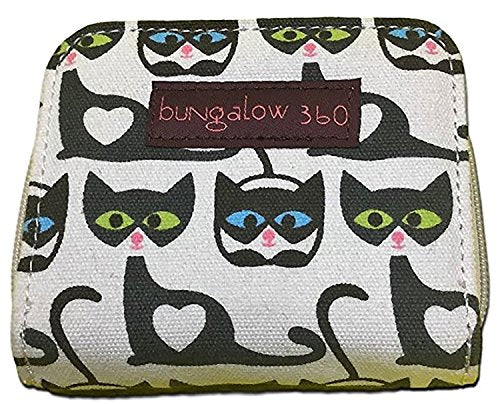 Billfold Zippered Wallet by Bungalow 360, Cat Faces