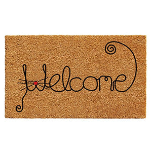 Cat Curlicue Welcome Doormat, All-season, Colorfast