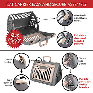 Foldable Cat Carrier with Wide Side Opening Door