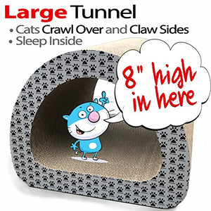 2 Pack Cat Tunnel and Log with Scratchers Includes Catnip