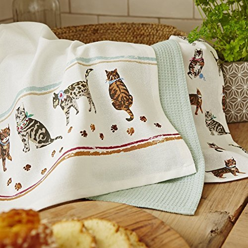 Set of 3 Kitchen Towels with Cat Print, 18