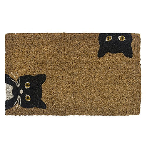 Peeping Cats Hand-Stenciled Doormat by Entryways