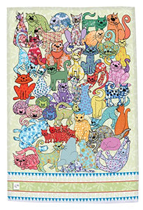 Multicolored Cats Print Dish Towel