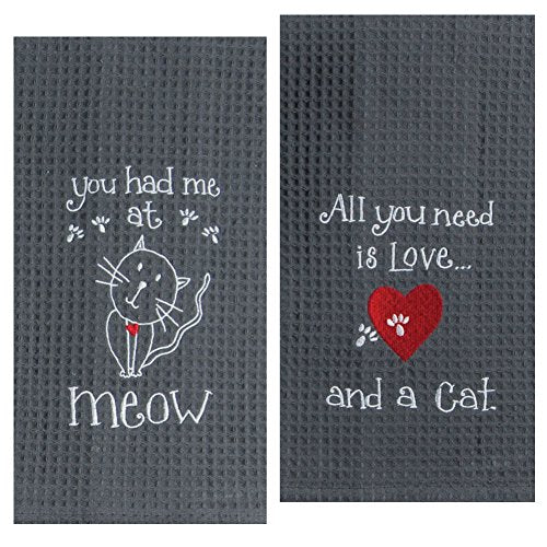 Embroidered Towel Set for Cat Lovers by Kay Dee, gray with red