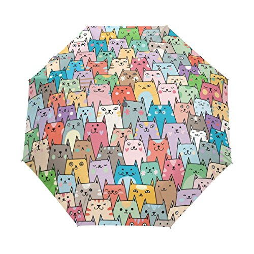 Umbrella with Multicolored Charming Kittens Drawing, 15.2 ounces