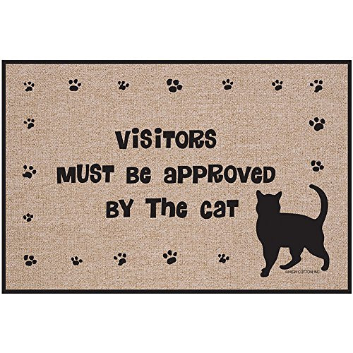 Visitors Must Be Approved By The Cat Doormat   Kitty Paws Welcome Rug