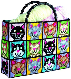 Cat Tote PlasticBag Canvas Kit, Funny Colorful Cat Faces