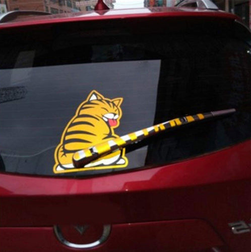 Car Wiper Decal Cat Sticker, 7.48