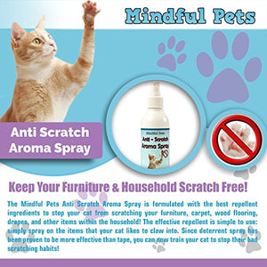 Cat Scratch Deterrent Spray by Mindful Pets, Natural Safe Ingradients