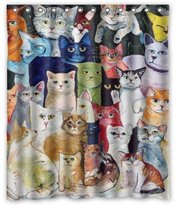 Colorful Cats Painting Polyester Shower Curtain, Mildew Resistant