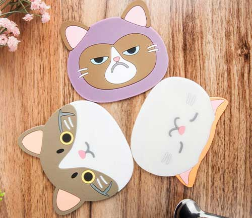 Cat Cup Mat Silicone Rubber Coasters, 4.2 x 3.8 x 0.1