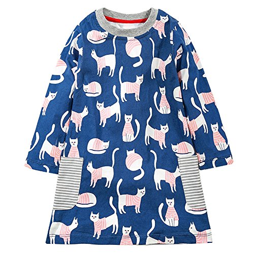 Cat Print Easy to Wear Girls Dress for Kids