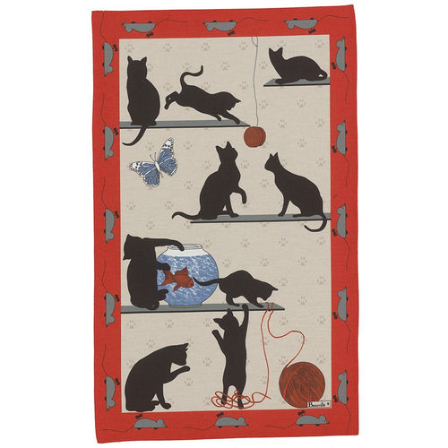 Cats Clowning Design Kitchen Towel, Made in Ribeauvillé - France
