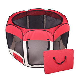 Red Playpen Exercise Play Crate for Pets