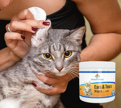 Ears & Tears Cleaning Wipes for Cats by Doctor4Paws, 6.4 ounces