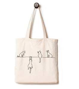 Canvas Tote Bag with Beautiful Playing Cats Illustration